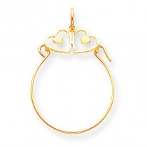 Double Heart Charm Holder in 10k Yellow Gold