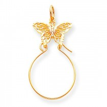 Filigree Butterfly Charm Holder in 10k Yellow Gold