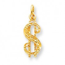 Antiqued Dollar Sign Charm in 10k Yellow Gold