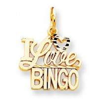 Talking I Love Bingo Charm in 10k Yellow Gold