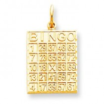 Bingo Card Charm in 10k Yellow Gold