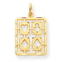 Playing Card Symbols Charm in 10k Yellow Gold