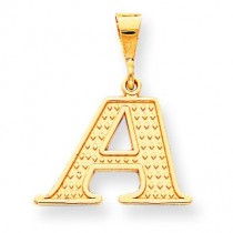 Raised Edge Initial A Charm in 10k Yellow Gold