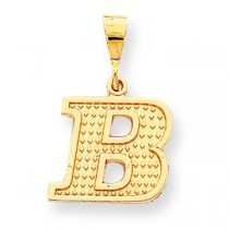 Raised Edge Initial B Charm in 10k Yellow Gold
