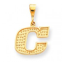 Raised Edge Initial C Charm in 10k Yellow Gold