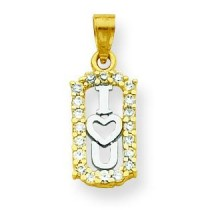 CZ I Love You Charm in 10k Yellow Gold