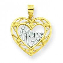 Mom Heart Charm in 10k Yellow Gold