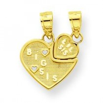 Big Sis Lil Sis Break Apart Heart Charm in 10k Yellow Gold