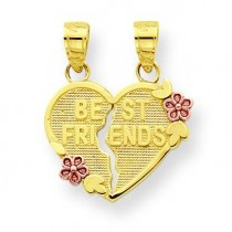 Best Friends Break Apart Heart Charm in 10k Two-tone Gold