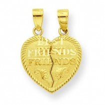 Best Friends Break Apart Heart Charm in 10k Yellow Gold