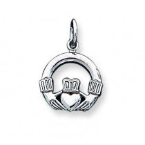 Claddagh Charm in 10k White Gold