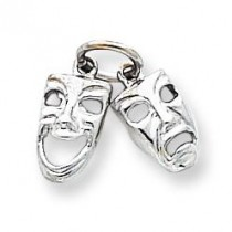 Comedy Tragedy Charm in 10k White Gold