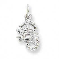 Scorpion Charm in 10k White Gold
