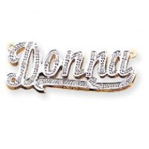 Diamond Name Plate Pendant in 10k Yellow Gold