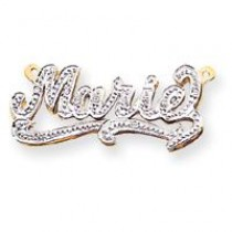 Diamond Name Plate Pendant in 10k Yellow Gold