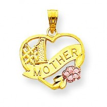 Mother Heart Charm in 10k Two-tone Gold