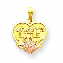 Mommy Little Girl Heart Charm in 10k Two-tone Gold