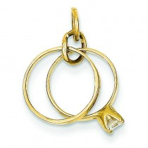 Wedding Rings Charm in 14k Yellow Gold