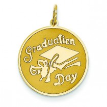 Graduation Day Disc Charm in 14k Yellow Gold