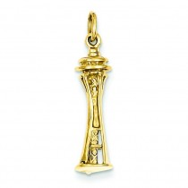 Seattle Tower Charm in 14k Yellow Gold