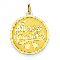 Merry Christmas Disc Charm in 14k Yellow Gold