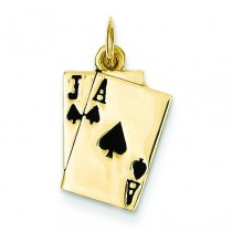 Blackjack Playing Cards Charm in 14k Yellow Gold