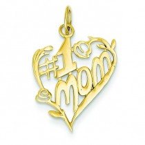 Mom Heart Charm in 14k Yellow Gold