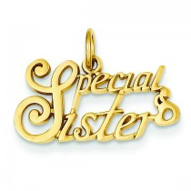 Special Sister Charm in 14k Yellow Gold
