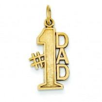 Number One Dad Charm in 14k Yellow Gold