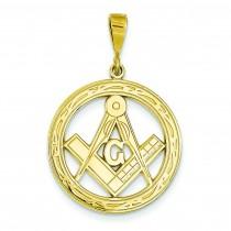 Large Masonic Pendant in 14k Yellow Gold