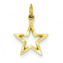 Diamond Cut Star Charm in 14k Yellow Gold