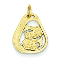 Pisces Charm in 14k Yellow Gold