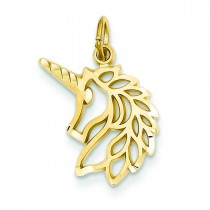 Unicorns Head Pendant in 14k Yellow Gold
