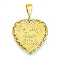 For My Dear Wife Charm in 14k Yellow Gold