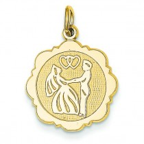 Bride Groom Charm Back Is in 14k Yellow Gold