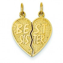 Best Sister Break Apart Charm in 14k Yellow Gold
