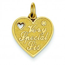 Very Special Sister Charm in 14k Yellow Gold
