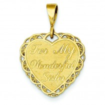 For My Wonderful Sister Charm in 14k Yellow Gold