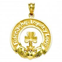 Claddagh Leaf Charm in 14k Yellow Gold