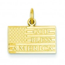 God Bless America Flag Charm in 14k Yellow Gold