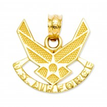U S Air Force Pendant in 14k Yellow Gold