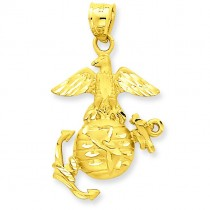 US Marine Pendant in 14k Yellow Gold