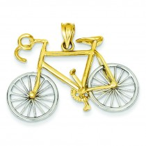 Large Bicycle Pendant in 14k Two-tone Gold