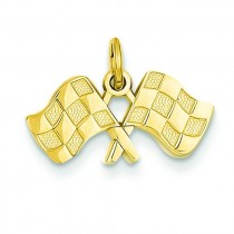 Racing Flags Charm in 14k Yellow Gold