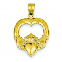 Open Backed Claddagh Pendant in 14k Yellow Gold