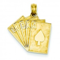 Royal Flush Pendant in 14k Yellow Gold