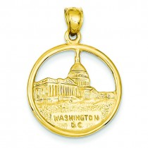 Washington DC In Disc Pendant in 14k Yellow Gold