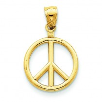 Peace Sign Charm in 14k Yellow Gold