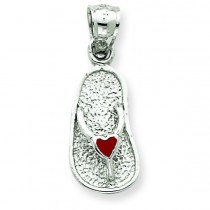 Red Sandal Pendant in 14k White Gold