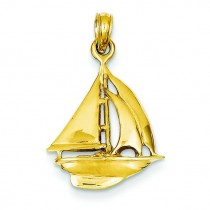 Open Backed Sailboat Pendant in 14k Yellow Gold